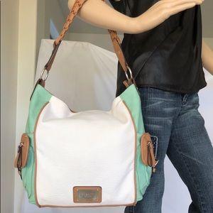 Gorgeous three tone genuine leather Rossetti bag
